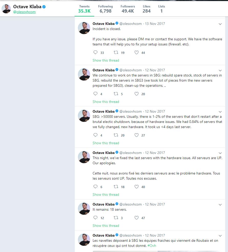 Octave Klaba krizės komunikacija soc. tinkle Twitter